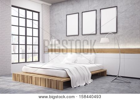 Corner Of Master Bedroom With A Double Bed, Three Posters And Two Lamps