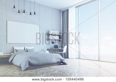 Bedroom With Concrete Wall And Wooden Floor, Toned