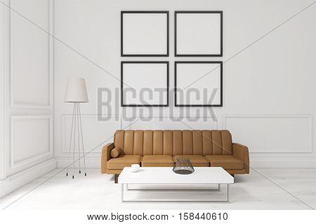 Living Room With Four Posters, Brown Sofa And A Coffee Table