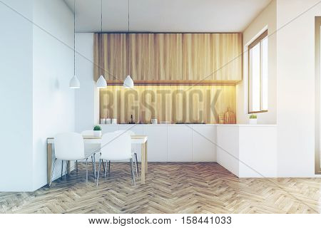 Kitchen Counter Top With Light Wood Furniture, Toned