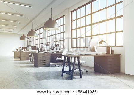 Office Interior With Massive Ceiling Lamps, Toned
