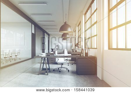 Row Of Tables And Conference Rooms, Toned