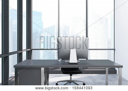 Close Up Of A Desktop In Panoramic Window Room