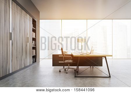 Side View Of A Ceo Office With Wooden Doors And A Bookcase, Toned