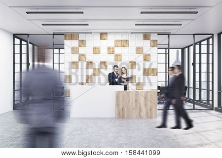 People in the office lobby. Large wall is decorated with white and wooden tiles. There is a wooden part of it and two conference rooms by both sides. 3d rendering. Mock up
