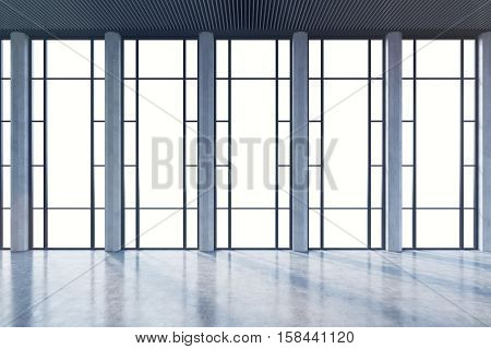 Empty Room With Windows With Rectangular Ornament