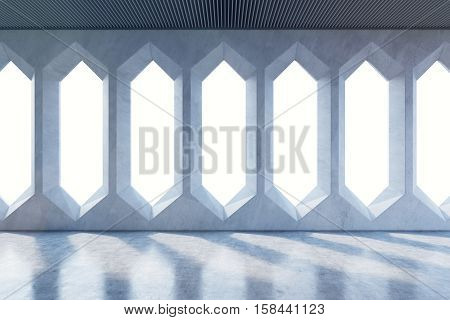 Empty Room With Windows With Diamond Ornament