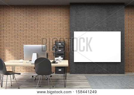 Front view of CEO office with large horizontal poster on black part of the wall. Table with computer is beside small file case. 3d rendering. Mock up.