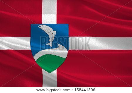 Flag of Ringkobing-Skjern in Central Jutland Region in Denmark. 3d illustration
