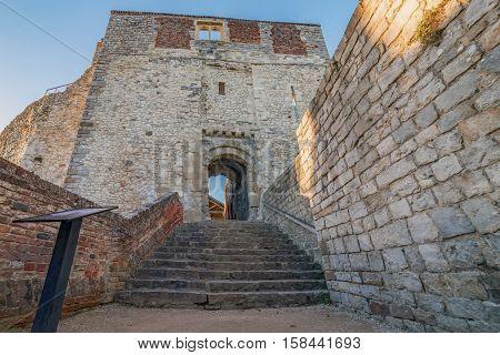 The ancient ruins of Farnham Castle in Surrey