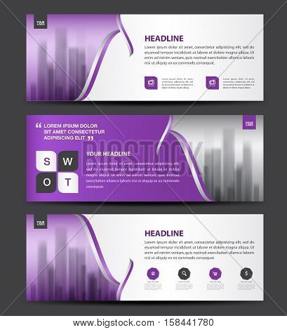 Purple Banner Template vector, horizontal banner, brochure flyer design, advertisement layout