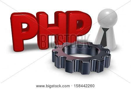 php tag and cogwheel - 3d illustration