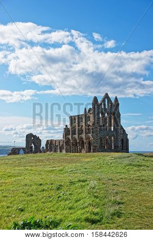Whitby, UK - May 11, 2011: Whitby Abbey of North Yorkshire in the UK. It is ruins of the Benedictine abbey. Now it is under protection of the English Heritage.