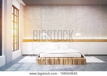 Master bedroom in a modern house. There is a large double bed windows and two floor lamps. 3d rendering. Mock up. Toned image.