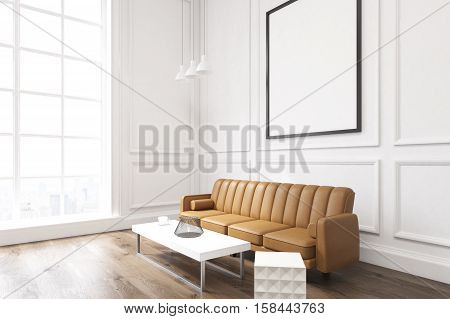 Side View Of A Living Room With Poster, Brown Sofa And A Coffee Table