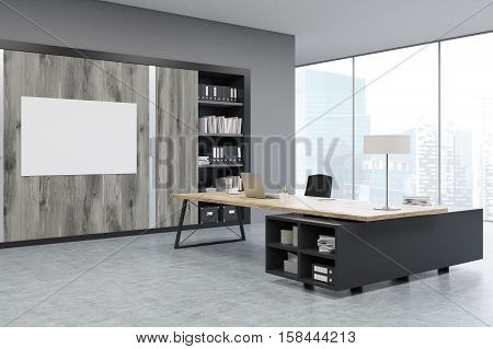 Corner Of A Ceo Office With Wooden Doors And A Bookcase