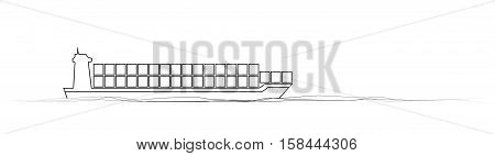 thin line cargo ship. concept of seaport emblem, voyage, shipbuilding, trip, anchor. vector illustration on white background