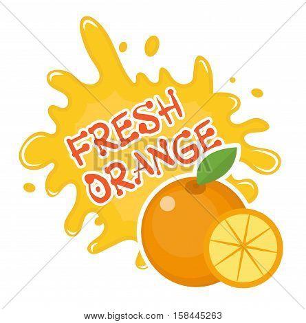 Fresh orange splash icon, logo, sticker. Fruit splashing isolated on white background. Vector illustration