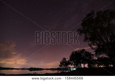 Milky Way galaxy over the lake, Long exposure photograph, with grain