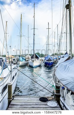 Rio Dulce, Guatemala - September 1 2016: Yacht marina on the Rio Dulce in Guatemala, Central America
