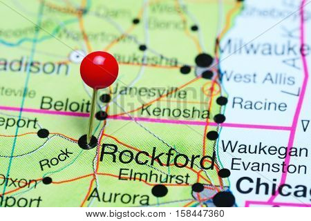 Rockford pinned on a map of Illinois, USA