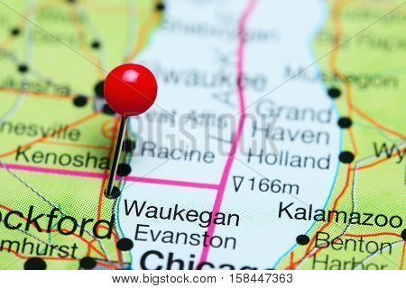 Waukegan pinned on a map of Illinois, USA