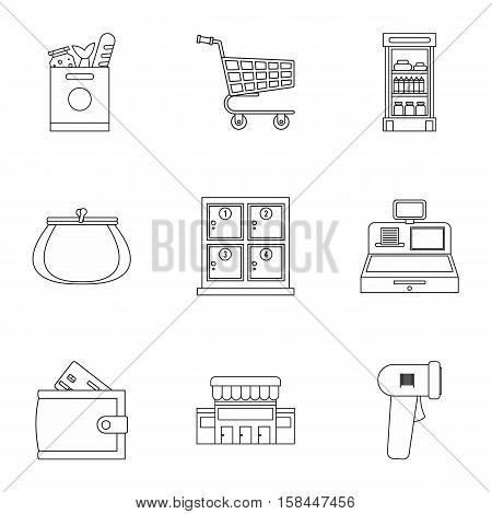 Supermarket icons set. Outline illustration of 9 supermarket vector icons for web