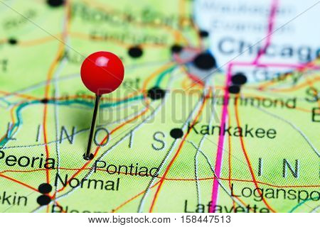 Pontiac pinned on a map of Illinois, USA