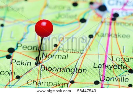 Bloomington pinned on a map of Illinois, USA