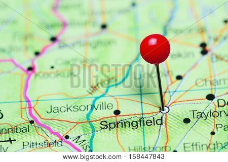 Springfield pinned on a map of Illinois, USA