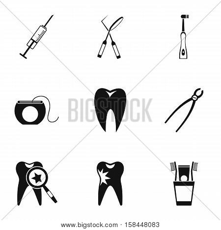 Dental treatment icons set. Simple illustration of 9 dental treatment vector icons for web