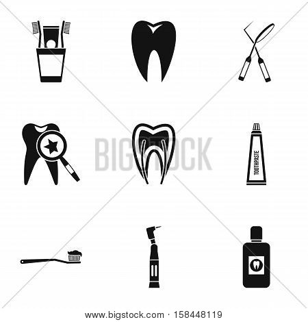 Dentistry icons set. Simple illustration of 9 dentistry vector icons for web