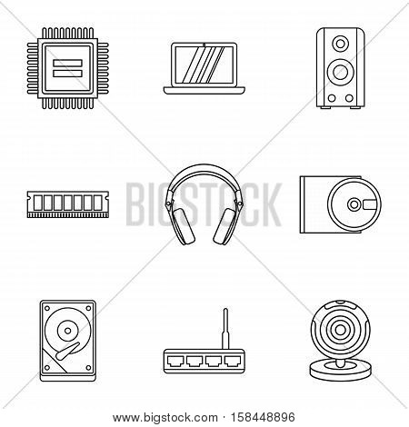 Computer data icons set. Outline illustration of 9 computer data vector icons for web