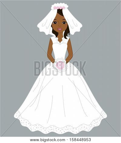 Vector African American bride in white dress and veil