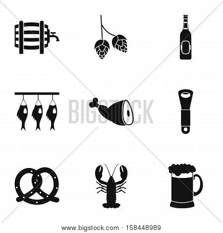 Alcoholic beverage icons set. Simple illustration of 9 alcoholic beverage vector icons for web