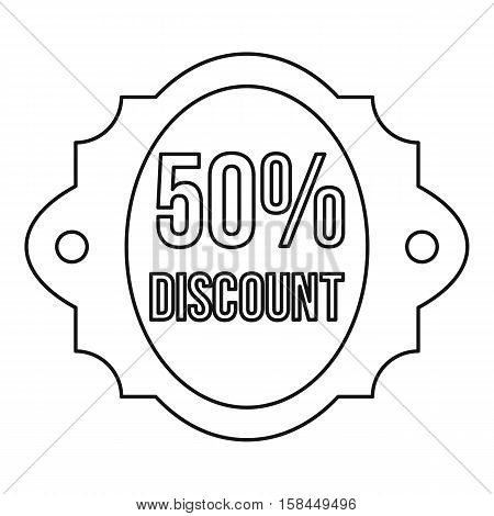 Sale 50 percent off discount lable icon. Outline illustration of sale 50 percent off discount lable vector icon for web