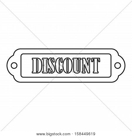Discount rectangle label icon. Outline illustration of discount rectangle label vector icon for web