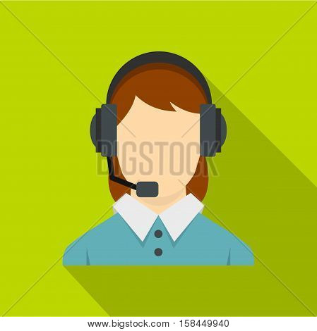 Call center operator with phone headset icon. Flat illustration of call center operator with phone headset vector icon for web isolated on lime background