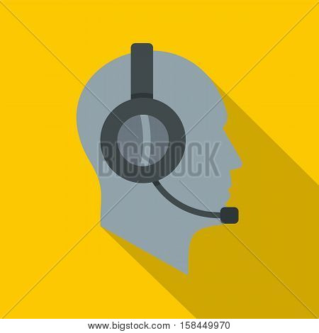 Client support service operator in headset icon. Flat illustration of support service operator in headset vector icon for web isolated on yellow background