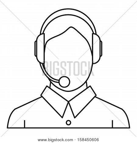 Man with a headset icon. Outline illustration of man with a headset vector icon for web