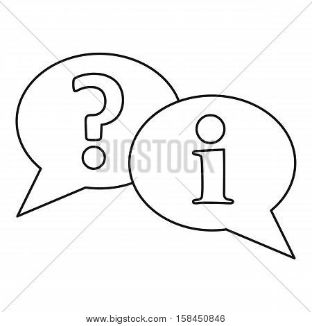 Speech bubbles with question and exclamation mark icon. Outline illustration of speech bubbles with question and exclamation mark vector icon for web