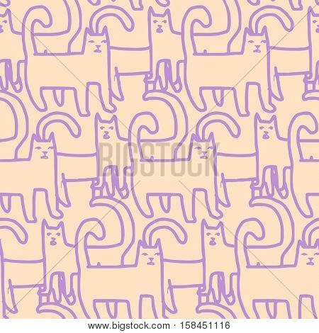 stylized abstract messy seamless pattern made of many cat figures
