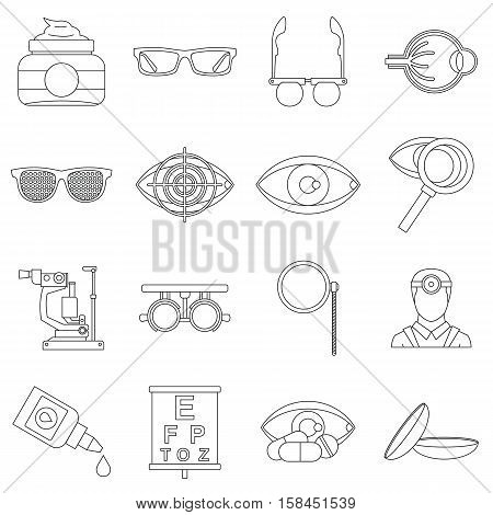 Ophthalmologist tools icons set. Outline illustration of 16 ophthalmologist tools vector icons for web