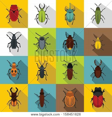 Bugs icons set. Flat illustration of 16 bugs vector icons for web