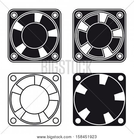 computer fan ventilator black symbol vector
