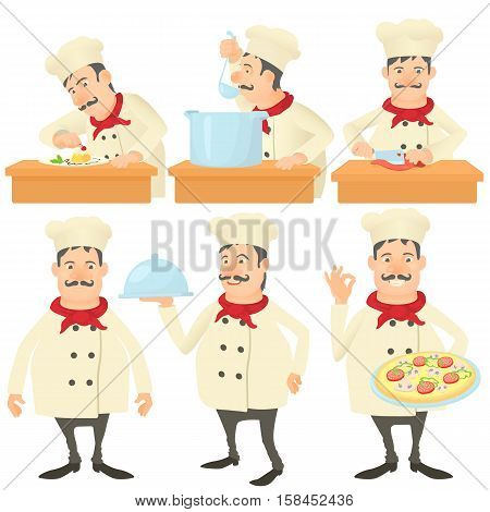 Cook kitchener concept set. Cartoon illustration of 6 cook kitchener vector concepts for web