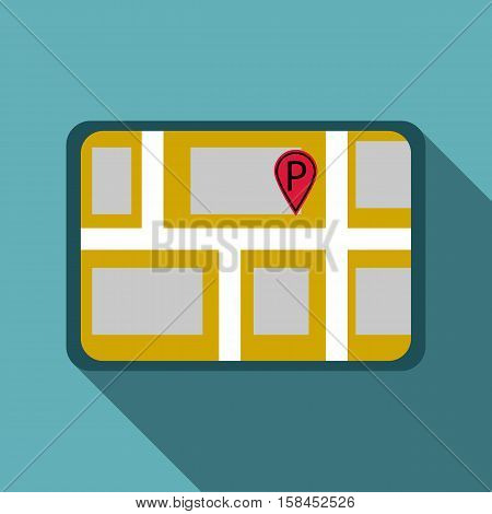 Map of GPS with parking sign icon. Flat illustration of map of GPS with parking sign icon for web