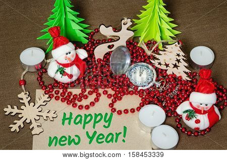 set of festive objects to decorate the rooms, the concept of home comfort, happy new year