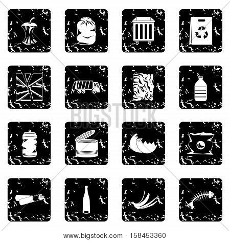 Waste and garbage for recycling set icons in grunge style isolated on white background. Vector illustration