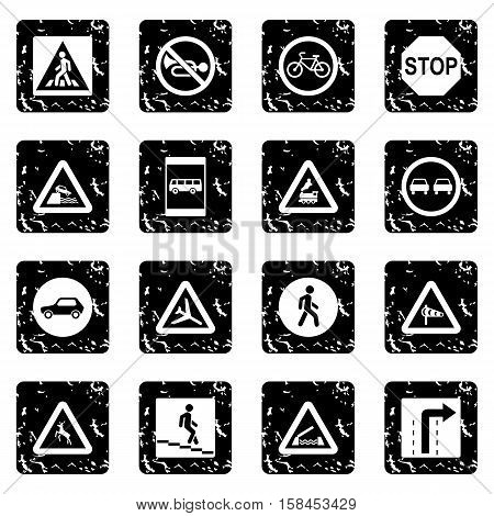 Road Sign set icons in grunge style isolated on white background. Vector illustration